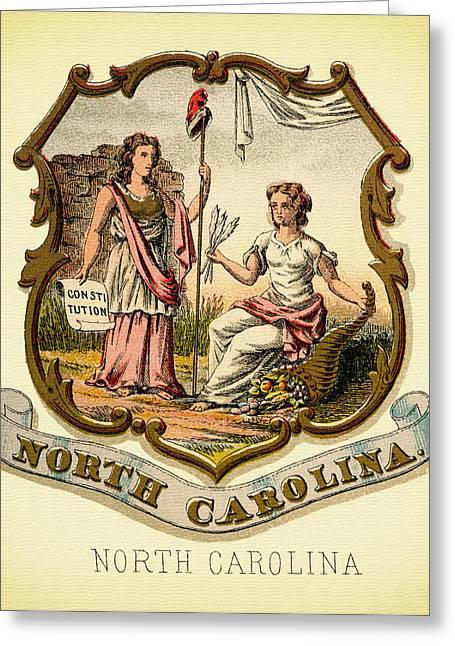 Illustrative Greeting Cards - North Carolina Coat of Arms - 1876 Greeting Card by Mountain Dreams