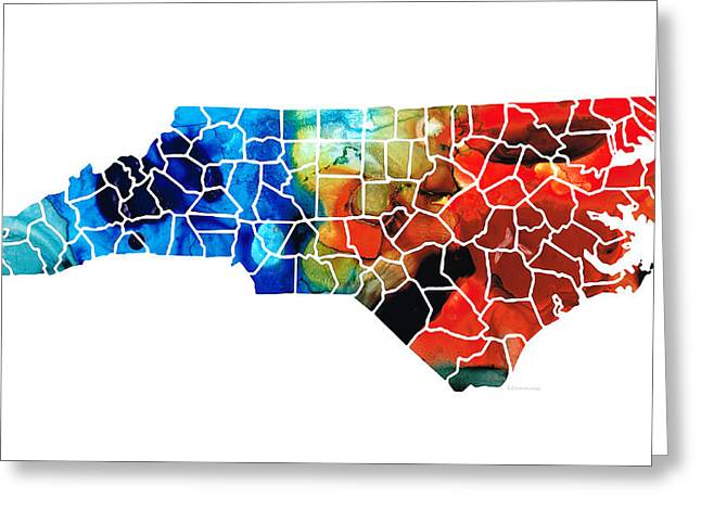 Bobcats Greeting Cards - North Carolina - Colorful Wall Map by Sharon Cummings Greeting Card by Sharon Cummings