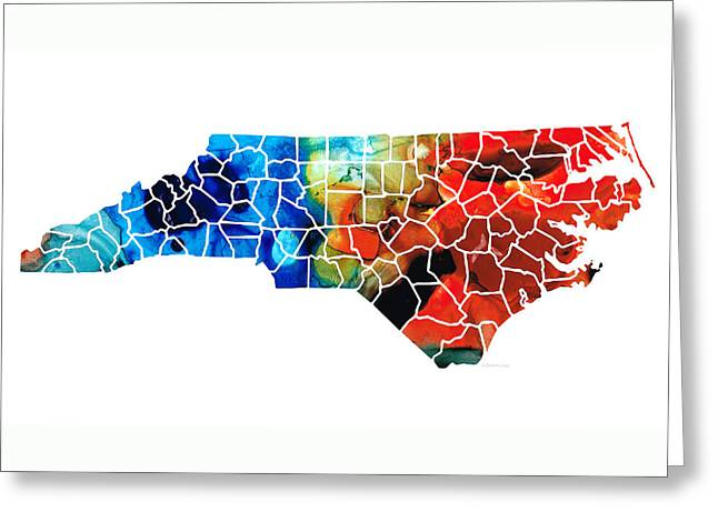 Recently Sold -  - Bobcats Greeting Cards - North Carolina - Colorful Wall Map by Sharon Cummings Greeting Card by Sharon Cummings