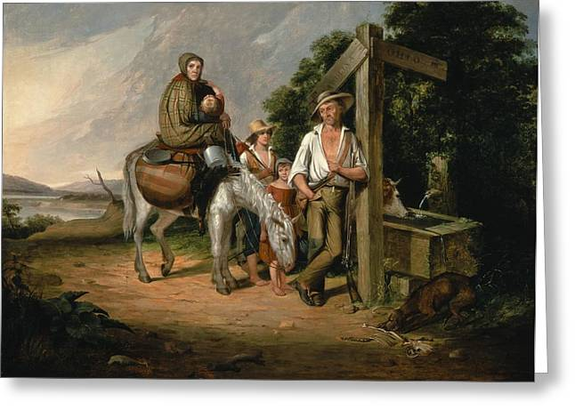 Hopeless Greeting Cards - North Carolina Emigrants, Poor White Folks, 1845 Oil On Canvas Greeting Card by James Henry Beard