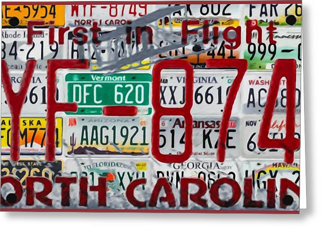 Worn In Paintings Greeting Cards - North Carolina License Plate Greeting Card by Lanjee Chee