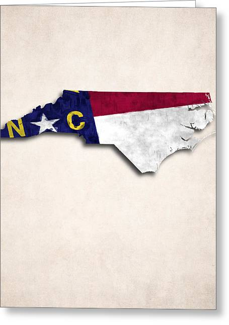 Geographic Digital Art Greeting Cards - North Carolina Map Art with Flag Design Greeting Card by World Art Prints And Designs