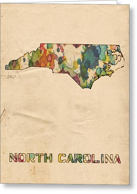 North Carolina Map Vintage Watercolor Greeting Card by Florian Rodarte