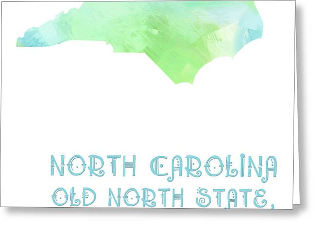 State Phrase Greeting Cards - North Carolina - Old North State - Tar Heel State - Map - State Phrase - Geology Greeting Card by Andee Design