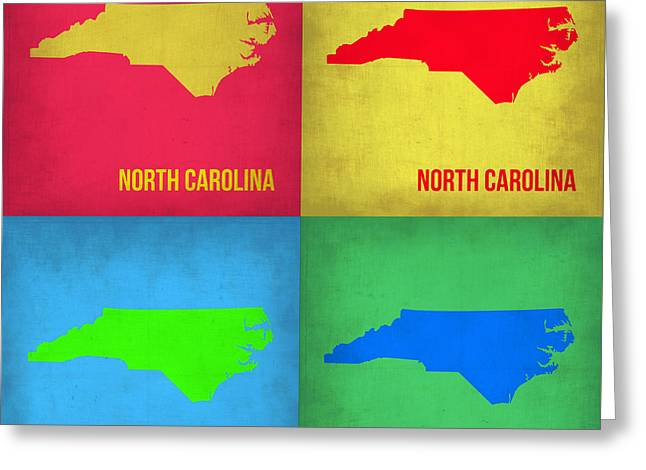 North Carolina Greeting Cards - North Carolina Pop Art Map 1 Greeting Card by Naxart Studio