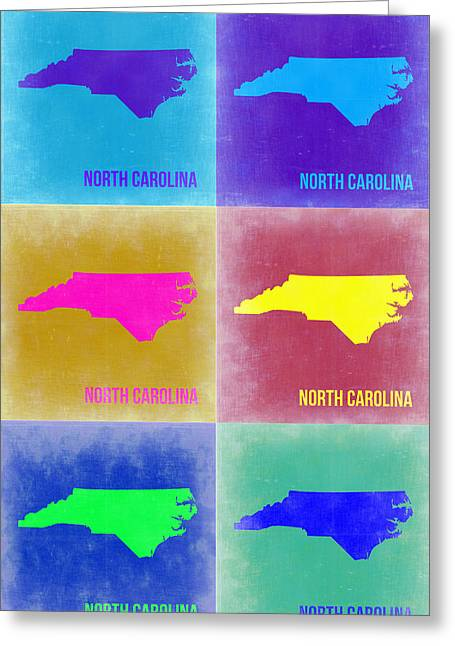 North Carolina Greeting Cards - North Carolina Pop Art Map 2 Greeting Card by Naxart Studio