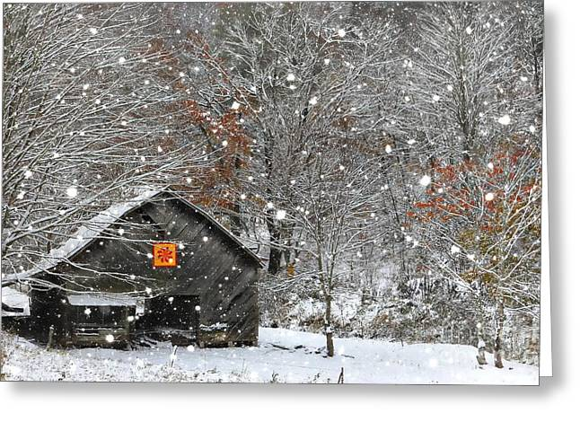 Wintery Barn Greeting Cards - North Carolina Quilt Barn Greeting Card by Benanne Stiens