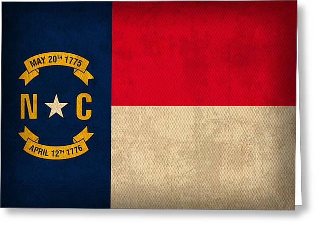 Carolina Mixed Media Greeting Cards - North Carolina State Flag Art on Worn Canvas Greeting Card by Design Turnpike