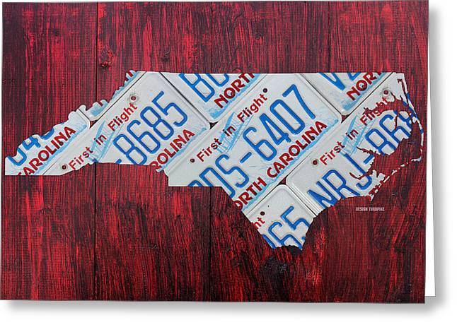 Carolina Mixed Media Greeting Cards - North Carolina State License Plate Map Art Greeting Card by Design Turnpike
