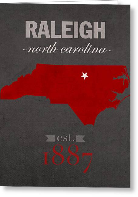 North Mixed Media Greeting Cards - North Carolina State University Wolfpack Raleigh College Town State Map Poster Series No 077 Greeting Card by Design Turnpike