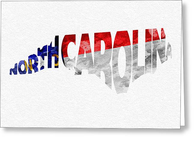 North Mixed Media Greeting Cards - North Carolina Typographic Map Flag Greeting Card by Ayse Deniz
