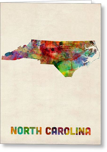 Cartography Digital Greeting Cards - North Carolina Watercolor Map Greeting Card by Michael Tompsett