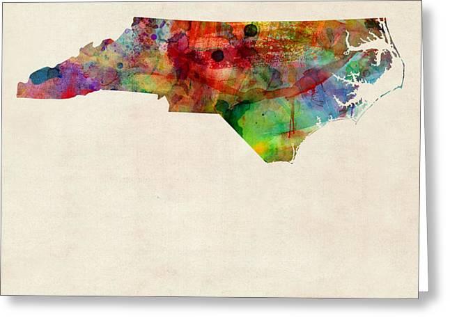 North Carolina Watercolor Map Greeting Card by Michael Tompsett