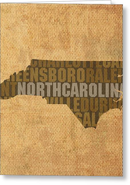 Carolina Mixed Media Greeting Cards - North Carolina Word Art State Map on Canvas Greeting Card by Design Turnpike