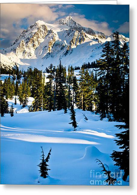 Peaceful Scene Photographs Greeting Cards - North Cascades Winter Greeting Card by Inge Johnsson