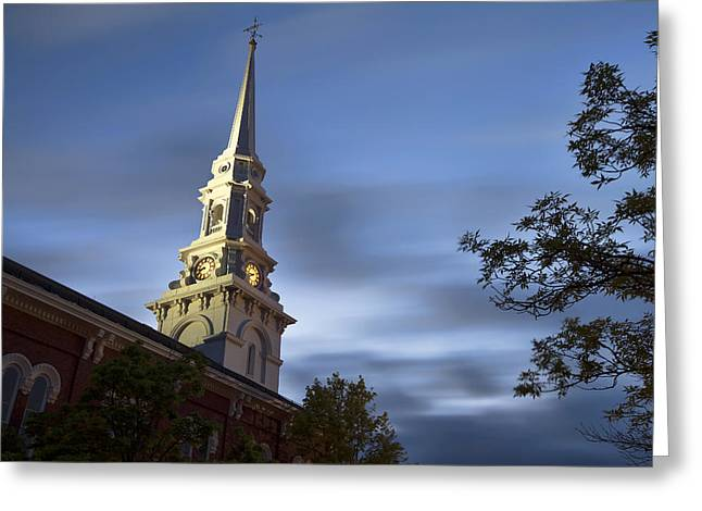 New England Village Greeting Cards - North Church Evening Greeting Card by Eric Gendron