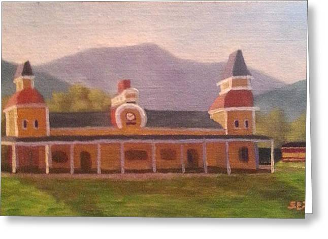 Moat Mountain Greeting Cards - North Conway Depot Greeting Card by Sharon E Allen