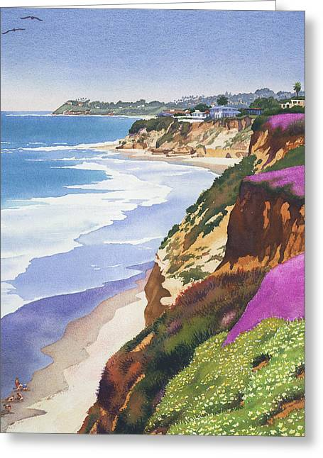 Southern California Beach Greeting Cards - North County Coastline Greeting Card by Mary Helmreich