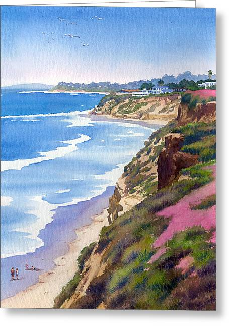 Southern Scene Greeting Cards - North County Coastline Revisited Greeting Card by Mary Helmreich