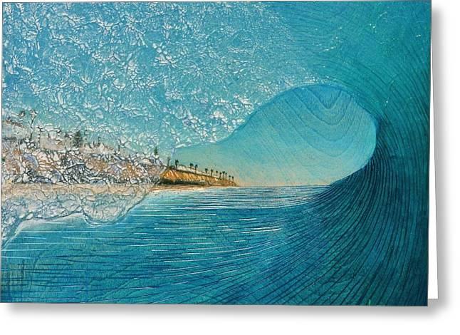 Surf Art Greeting Cards - North County Tube Greeting Card by Nathan Ledyard