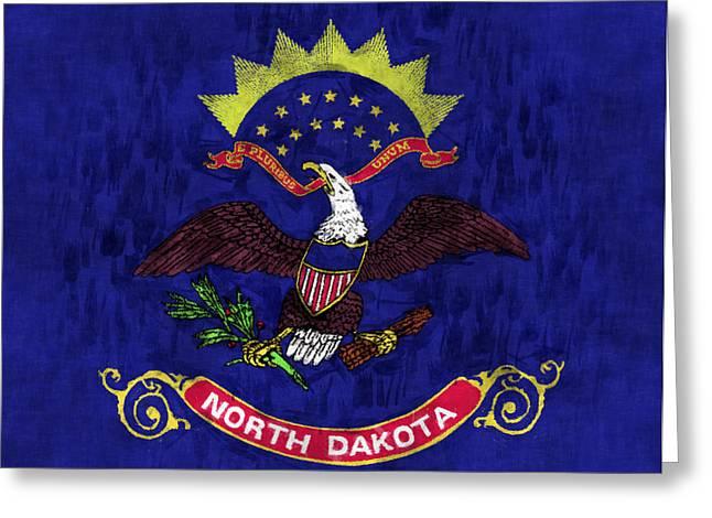 Geographic Digital Art Greeting Cards - North Dakota Flag Greeting Card by World Art Prints And Designs
