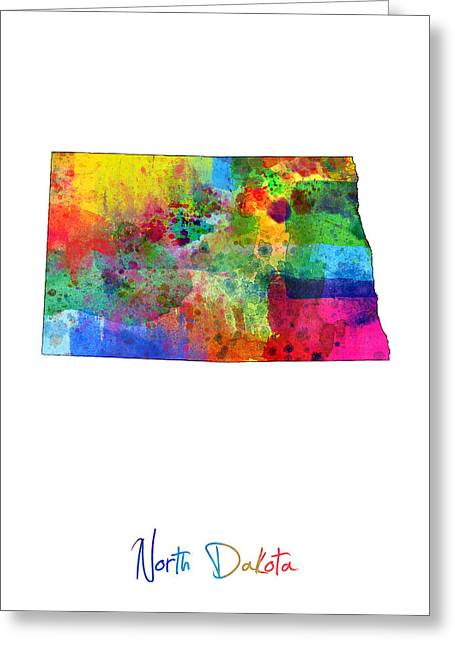 Cartography Digital Art Greeting Cards - North Dakota Map Greeting Card by Michael Tompsett