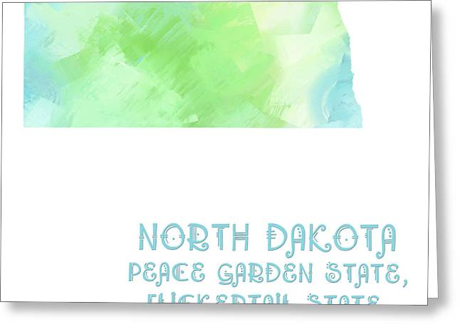 State Phrase Greeting Cards - North Dakota - Peace Garden State - Flickertail State -  Roughrider - Map - State Phrase - Geology Greeting Card by Andee Design