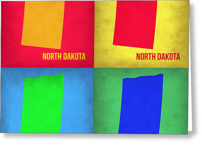 Dakota Greeting Cards - North Dakota Pop Art Map 1 Greeting Card by Naxart Studio