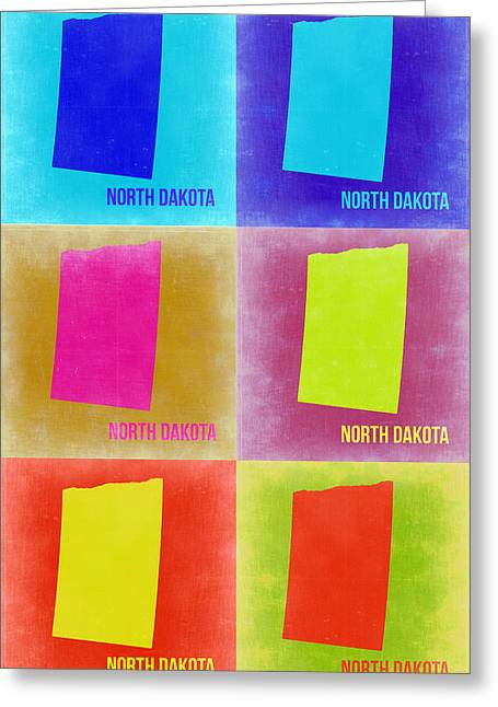 Dakotas Greeting Cards - North Dakota Pop Art Map 2 Greeting Card by Naxart Studio