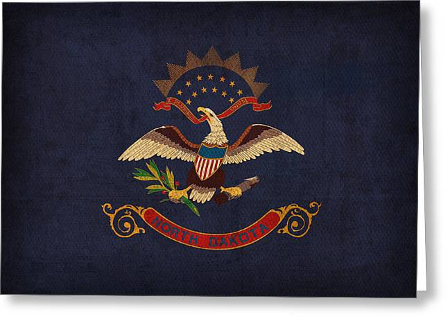 Seal Greeting Cards - North Dakota State Flag Art on Worn Canvas Greeting Card by Design Turnpike