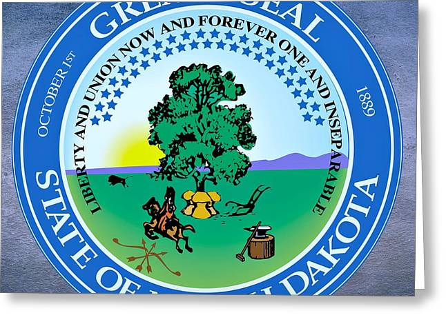 Sledge Greeting Cards - North Dakota State Seal Greeting Card by Movie Poster Prints