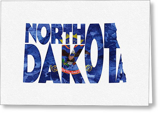 Urban Pyrography Greeting Cards - North Dakota Typographic Map Flag Greeting Card by Ayse Deniz