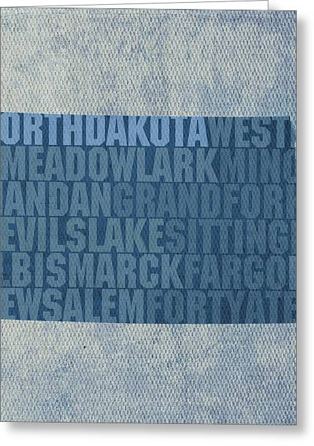 North Mixed Media Greeting Cards - North Dakota Word Art State Map on Canvas Greeting Card by Design Turnpike