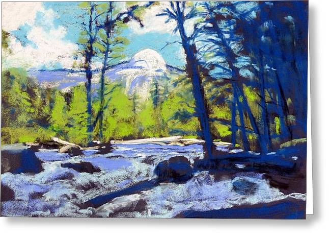 Dome Pastels Greeting Cards - North Dome at Yosemite Greeting Card by Carol Bower