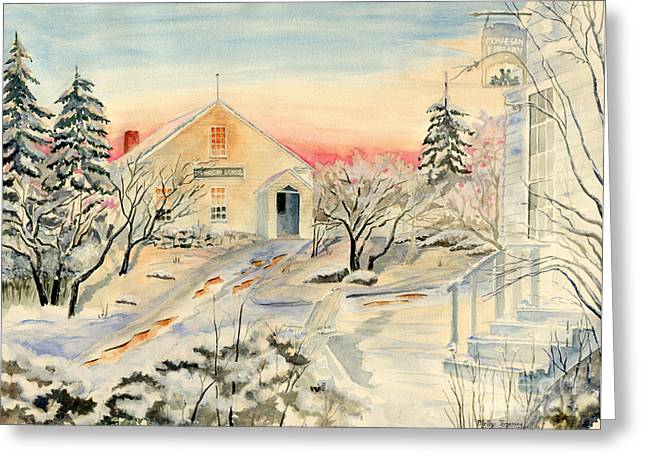 Winter In Maine Paintings Greeting Cards - North End in Snow Greeting Card by Melly Terpening