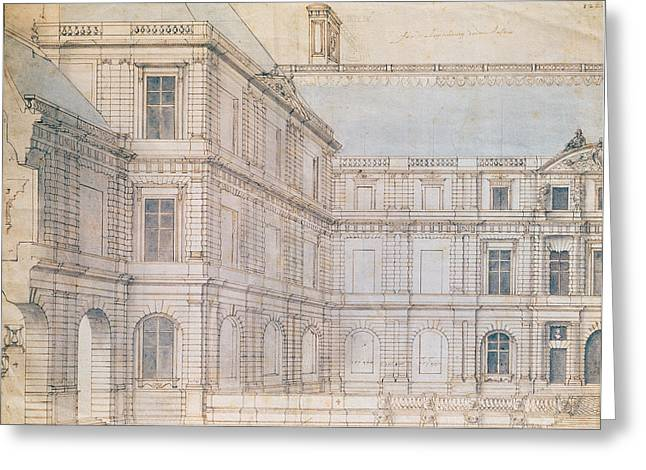North Facade Of The Palais De Luxembourg Pen & Ink On Paper Greeting Card by Salomon de Brosse