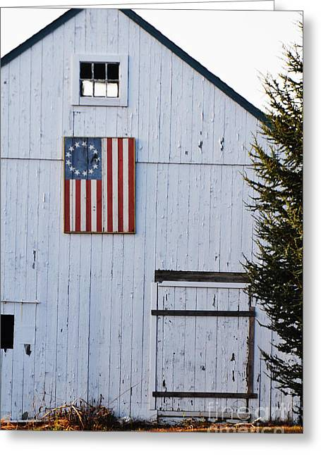 Bandera Greeting Cards - American Flag on Barn - North Fork Americana Greeting Card by ArtyZen Studios - ArtyZen Home