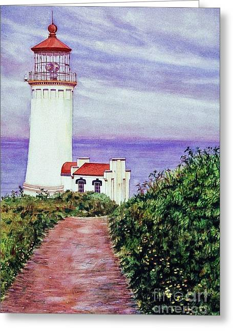 Covered Head Paintings Greeting Cards - North Head Light House on the Washington Coast Greeting Card by Cynthia Pride