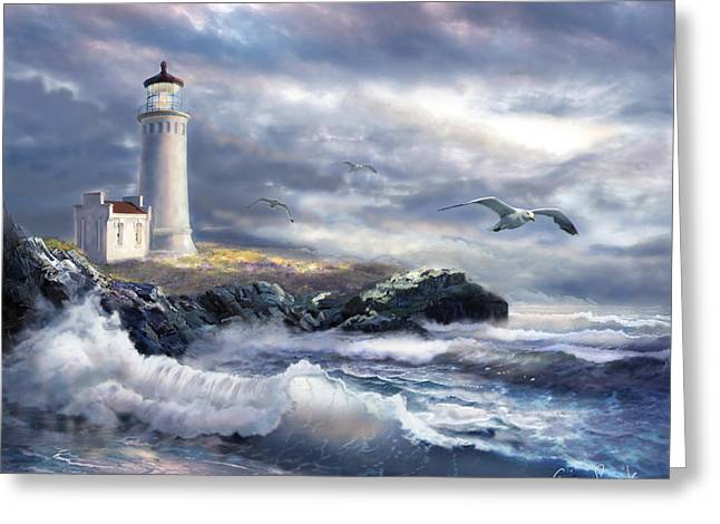 Historical Buildings Paintings Greeting Cards - North Head lighthouse at a stormy day Greeting Card by Gina Femrite