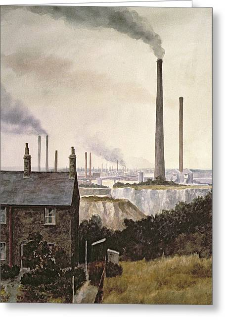 Factories Greeting Cards - North Kent Landscape  Nr Northfleet Gravesend Greeting Card by Vic Trevett