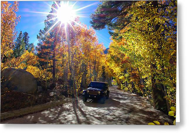 Fall Colors Greeting Cards - North Lake Road Fall Color Jeep Greeting Card by Scott McGuire