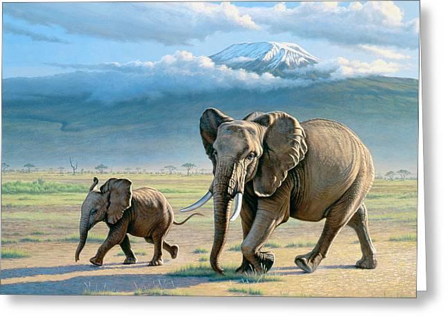 Mount Kilimanjaro Greeting Cards - North Of Kilimanjaro  Greeting Card by Paul Krapf