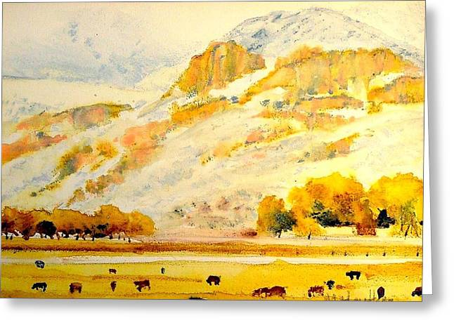 Grazing Snow Paintings Greeting Cards - North of Steamboat two Greeting Card by Mark Henthorn