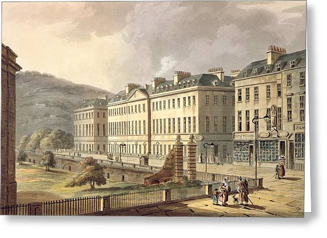 Street Landscape Greeting Cards - North Parade, From Bath Illustrated Greeting Card by John Claude Nattes