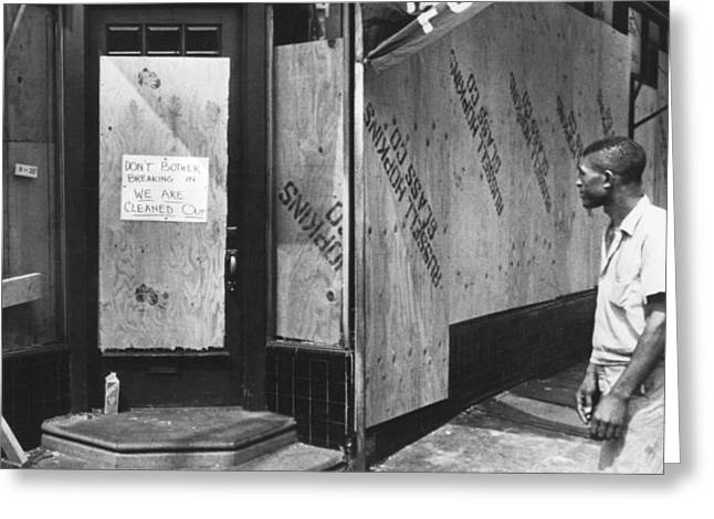 Entrance Door Greeting Cards - North Philadelphia Race Riots Greeting Card by Underwood Archives