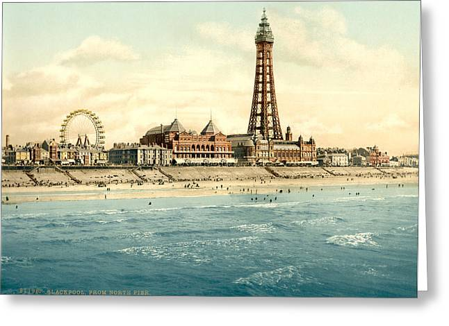 Seaside Digital Greeting Cards - North Pier Blackpool Greeting Card by Nomad Art And  Design