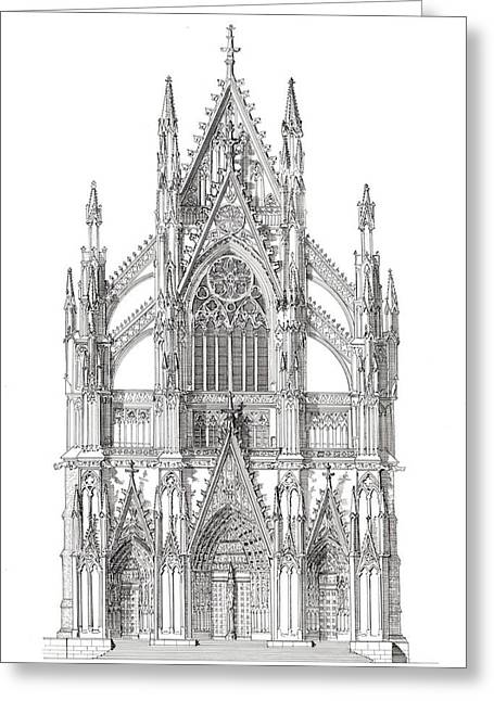 Portal Drawings Greeting Cards - North Portal Cologne Cathedral Germany Greeting Card by John Simlett