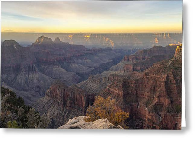 North Rim Greeting Cards - North Rim Sunrise Panorama 2 - Grand Canyon National Park - Arizona Greeting Card by Brian Harig
