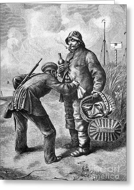 Illegal Acts Greeting Cards - North Sea Customs Search, 1880s Greeting Card by Bildagentur-online