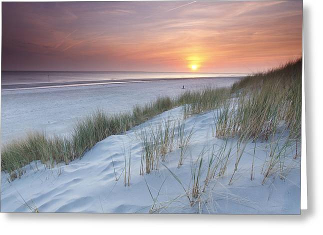 Ocean Shore Greeting Cards - North Sea Sunset From The Dunes Of Greeting Card by Johan van der Wielen